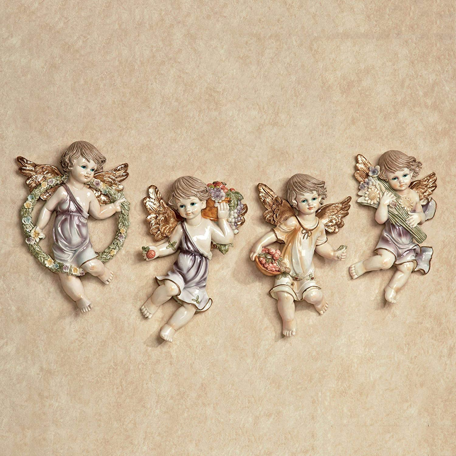 Cherubs and Blooms Wall Plaque Set Pastel Set of Four Pastel Pink, Purple, Cream, Green and Gold 6.5