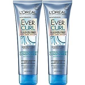L'Oréal Paris Hair Care EverCurl Hydracharge Conditioner Sulfate Free, with Coconut Oil, 2 Count (8.5 Fl. Oz each)