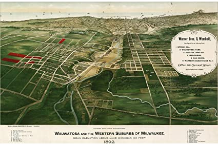 Amazon.com: History Prints Map of Milwaukee Suburbs, Wisconsin 1892 ...