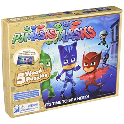 PJ Masks 5 Wood Puzzles in Wooden Storage Box (Styles Will Vary): Toys & Games