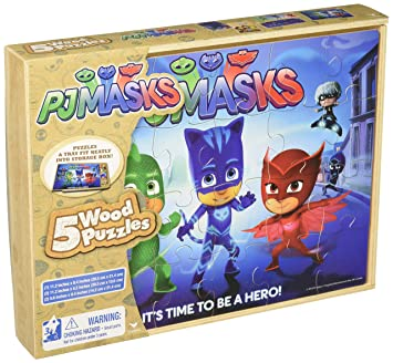 PJ Masks 5 Wood Puzzles in Wooden Storage Box (Styles Will Vary)