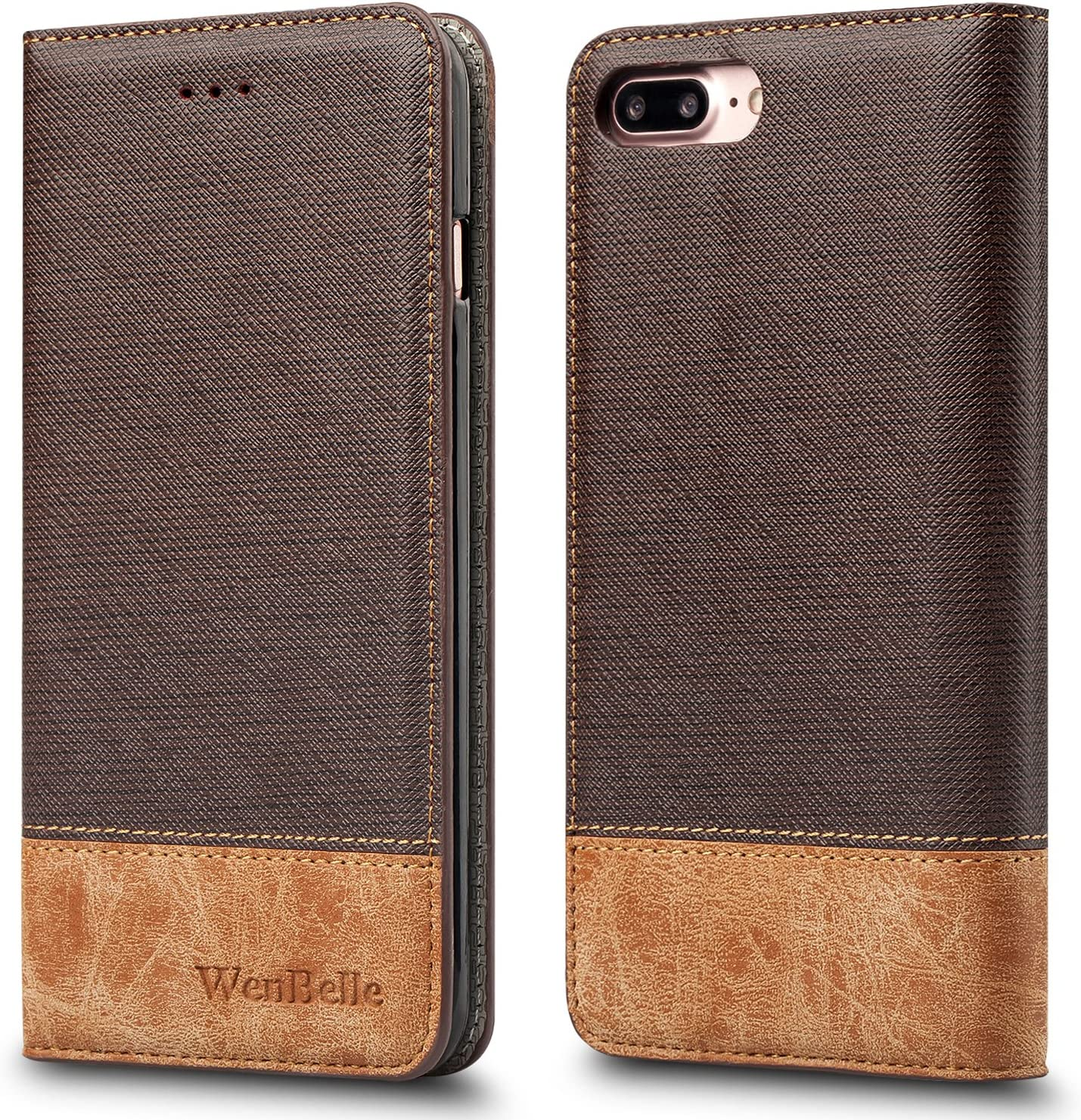 WenBelle for iPhone 7 Plus/iPhone 8 Plus Case, Stand Feature,Premium Soft PU Color Matching Leather Wallet Cover Flip Cases for Apple iPhone 7 Plus/iPhone 8 Plus 5.5 Inch (Brown)