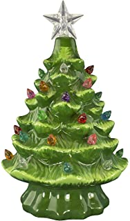Christmas Is Forever Ceramic Tree 7 Green With Multicolored Lights