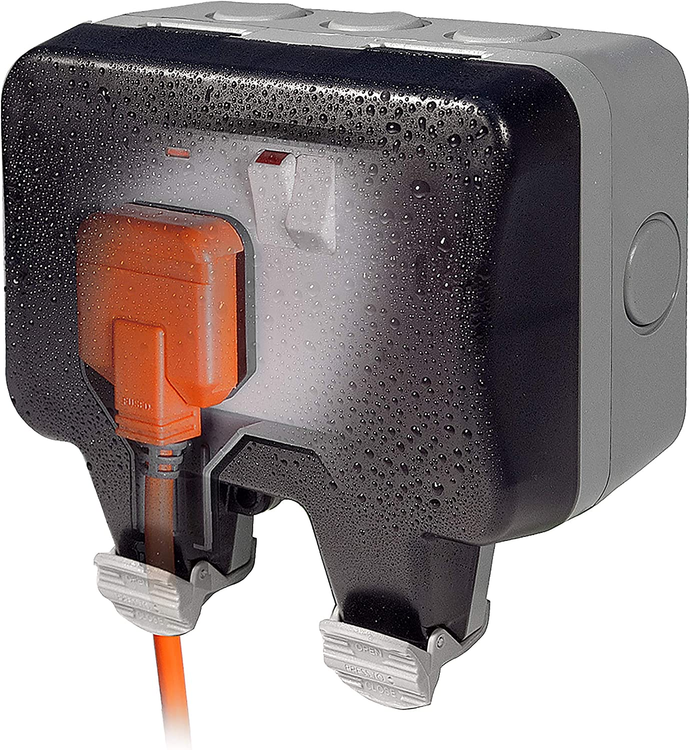 EXTERNAL OUTDOOR MAINS POWER TWIN 13a SOCKET IP55 230v decking patio shed garage