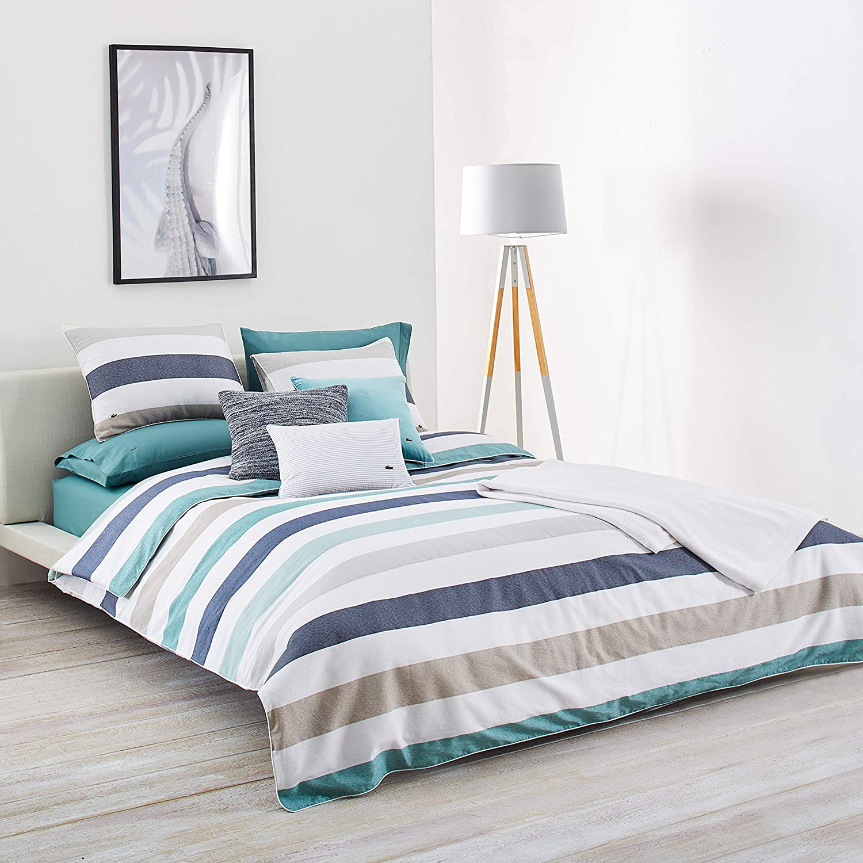Lacoste Bailleul Aqua and Khaki Striped Brushed Twill Comforter Set, King