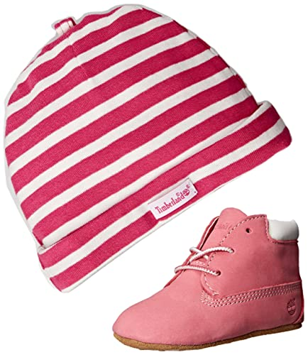 Baby Shoes Timberland Crib Booties And Hat Set Infant Toddlers Baby Pink/white Clothing, Shoes & Accessories