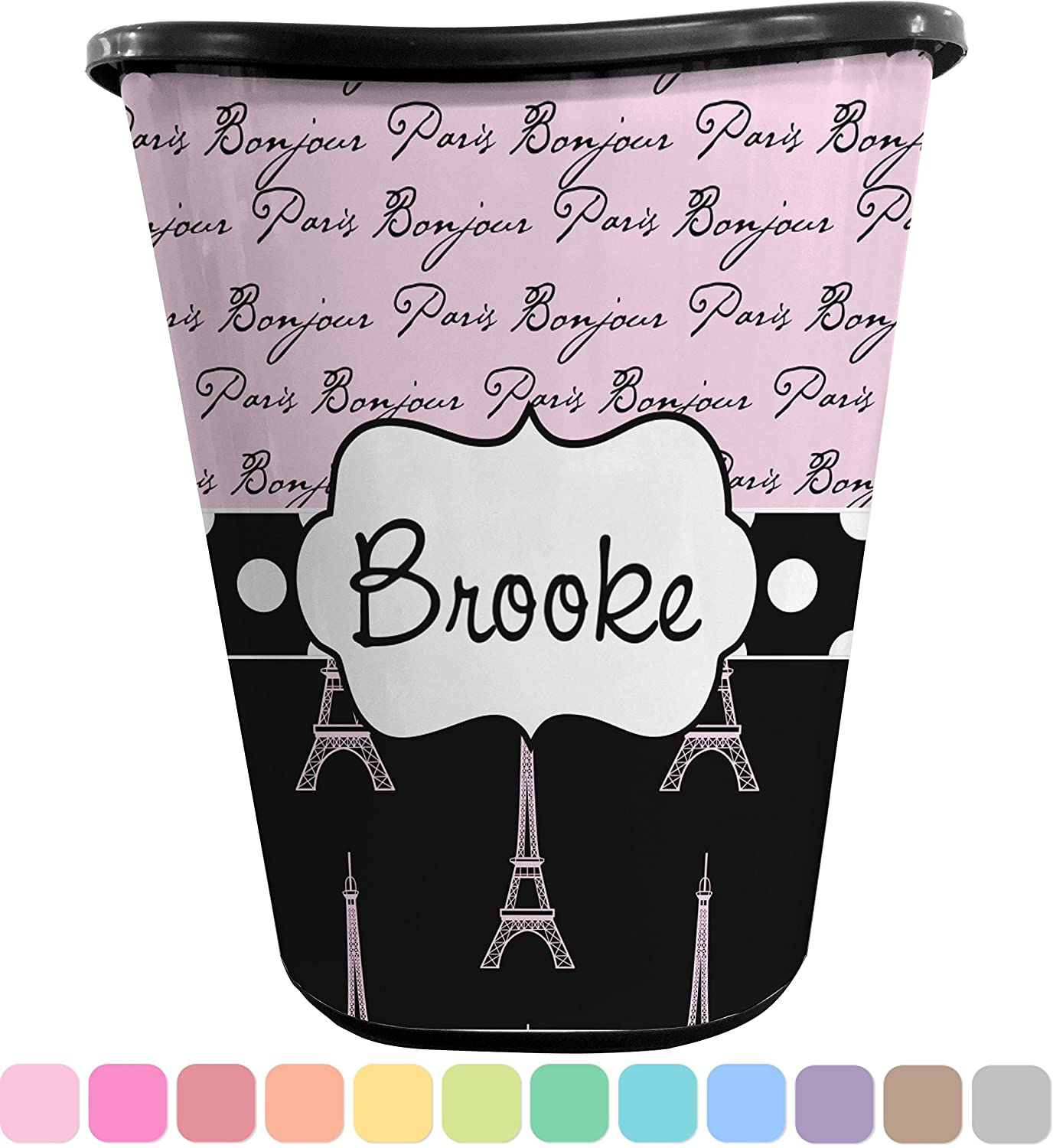 Paris Bonjour and Eiffel Tower Waste Basket (Black) (Personalized)