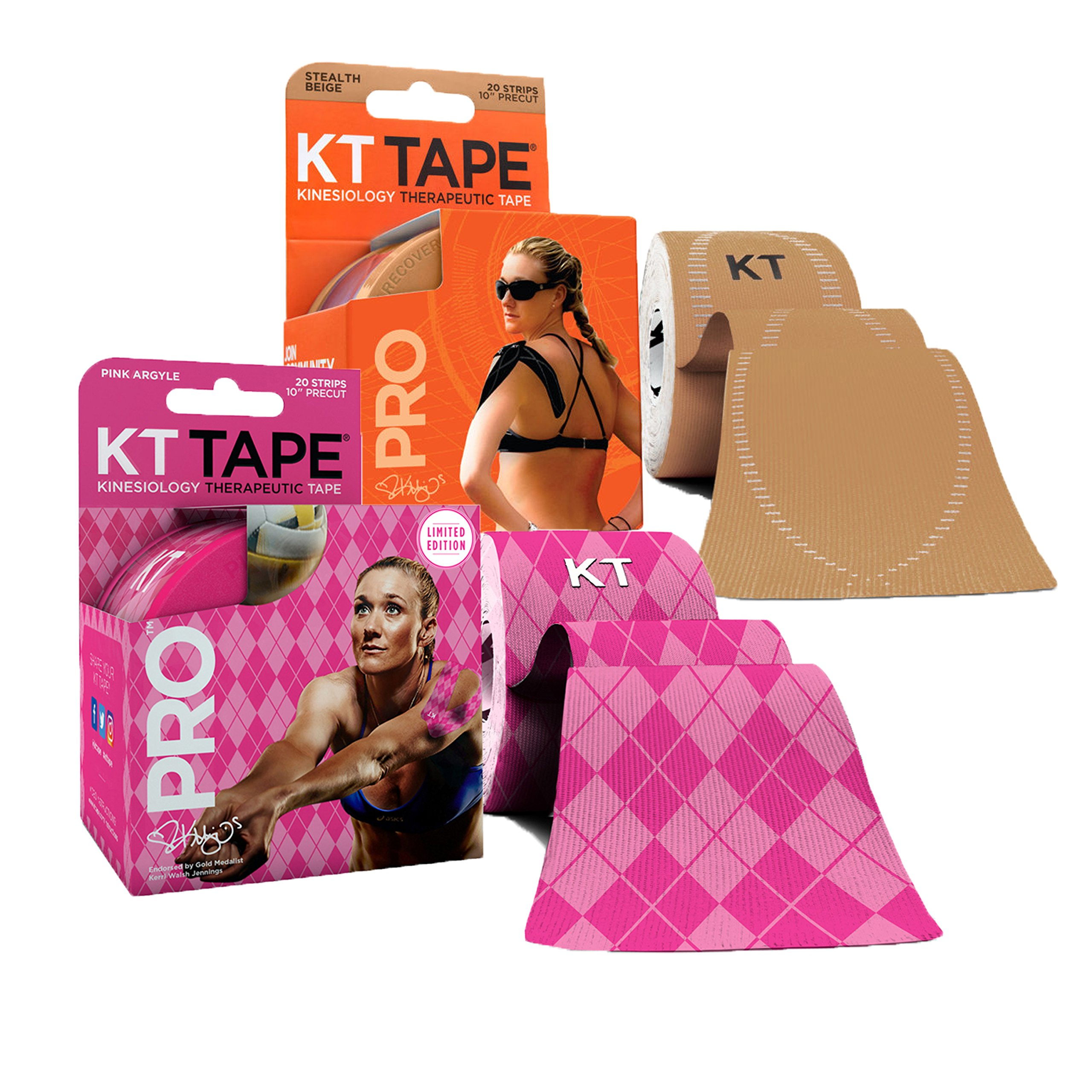 KT Tape PRO Precut 40-Strip Synthetic Kinesiology Tape Two-Roll Bundle - Stealth Beige & Pink Argyle
