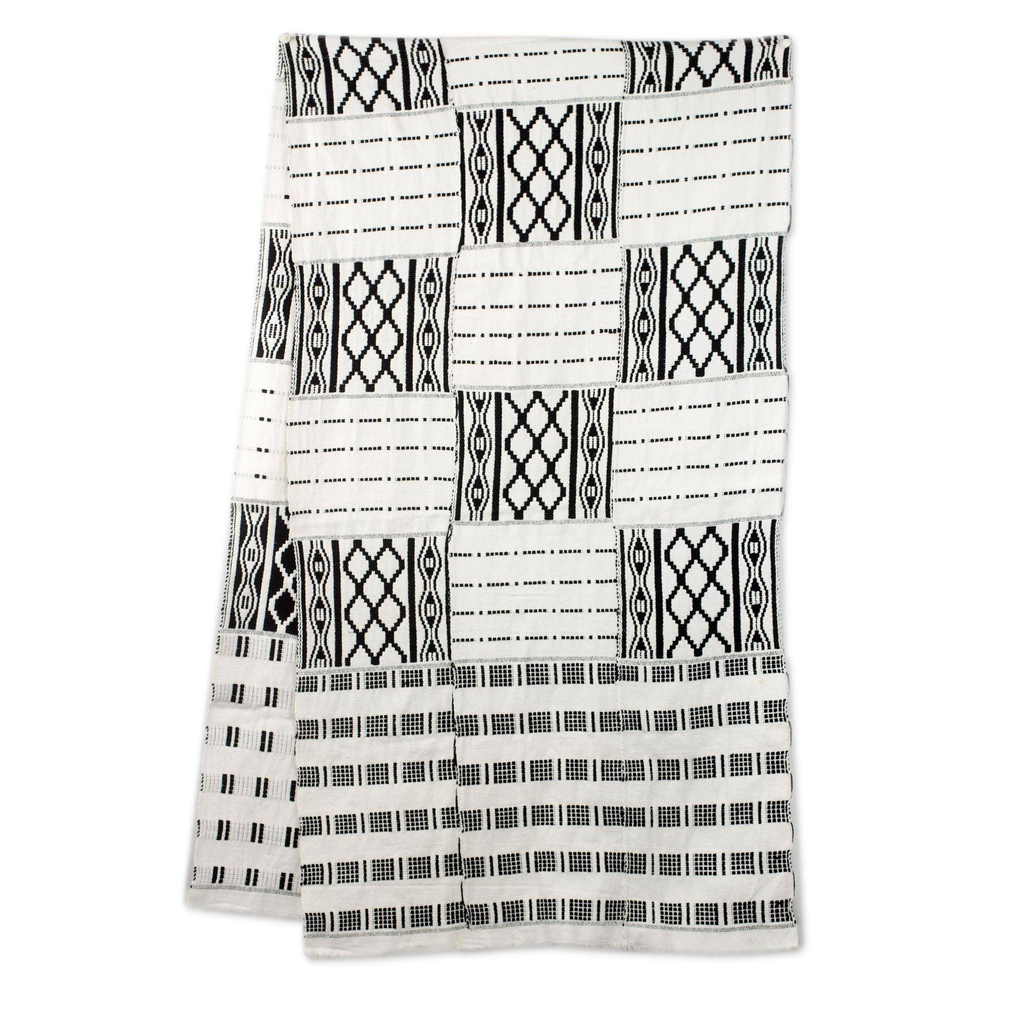 NOVICA Black and White Cotton Blend Kente Scarf, 'Akan Blessings' (18 inch)
