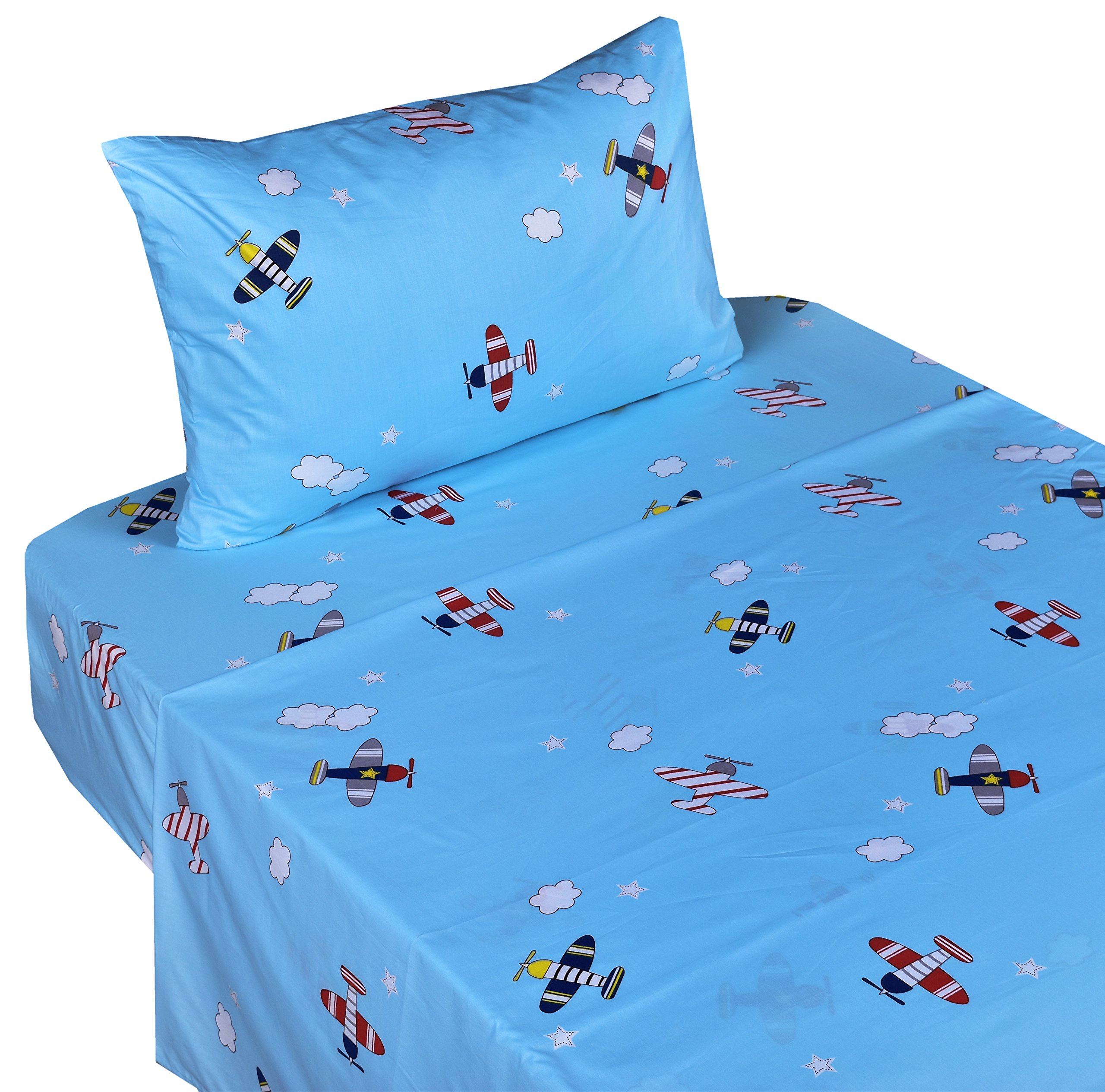 J-pinno Airplane Fly in Blue Sky Twin Sheet Set for Kids Boy Children,100% Cotton, Flat Sheet + Fitted Sheet + Pillowcase Bedding Set
