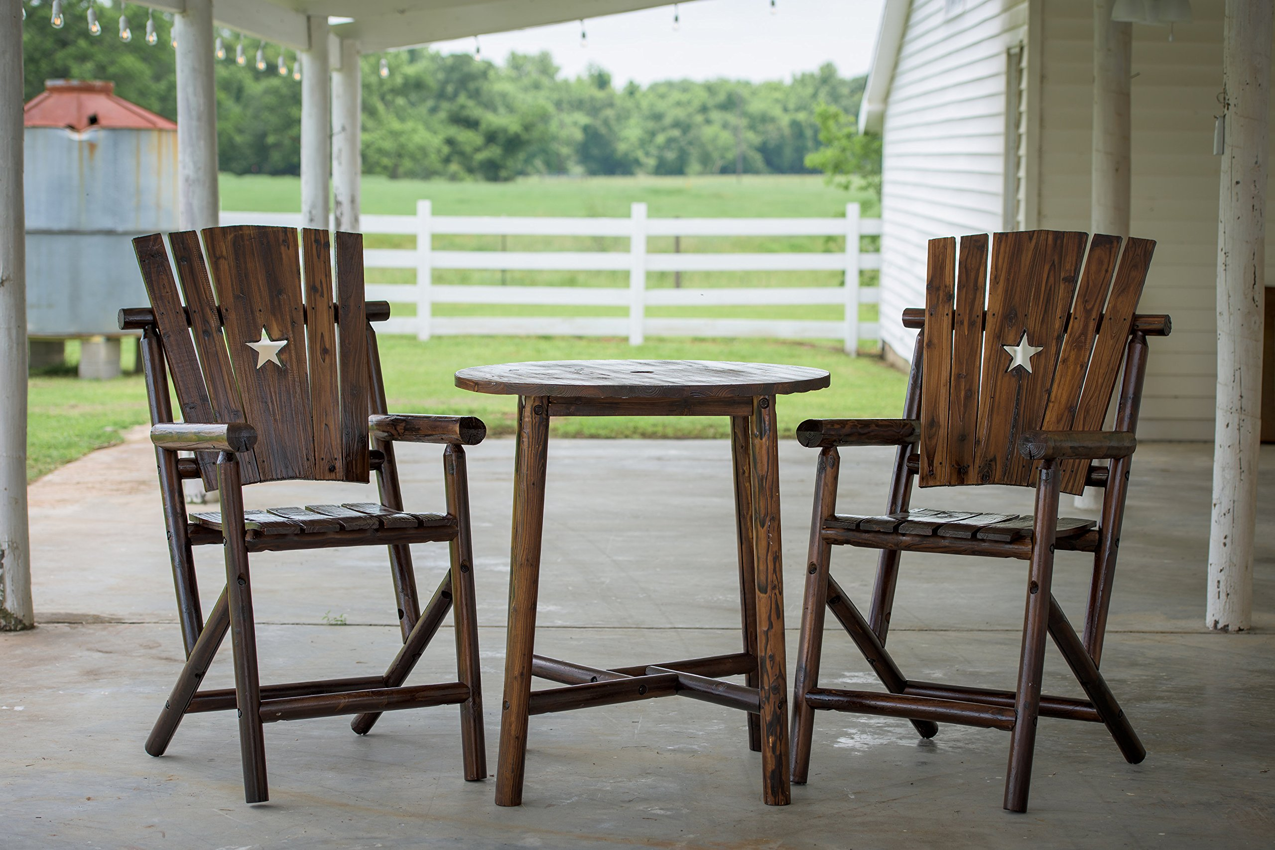 Leigh Country Bar Arm Chair with Star - Char-log finish is not a stain but a process that enhances the features of the log and preserves the wood to give the charred look Sealed with clear Lacquer Some assembly required - patio-furniture, patio-chairs, patio - 91KL1QDlsxL -