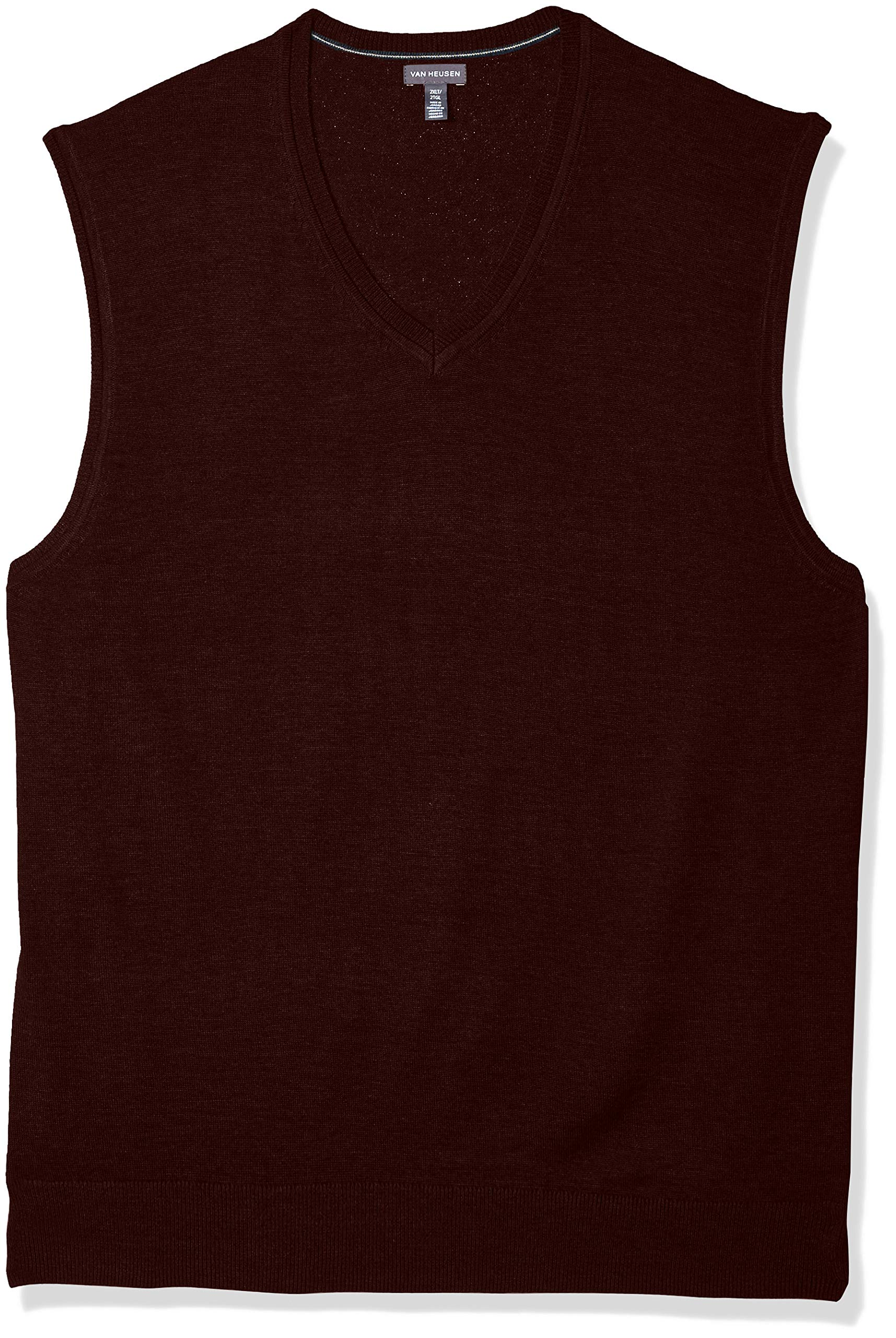 Van Heusen Men's Big and Tall Solid Sweater Vest 12GG, Cranberry Heather, Large
