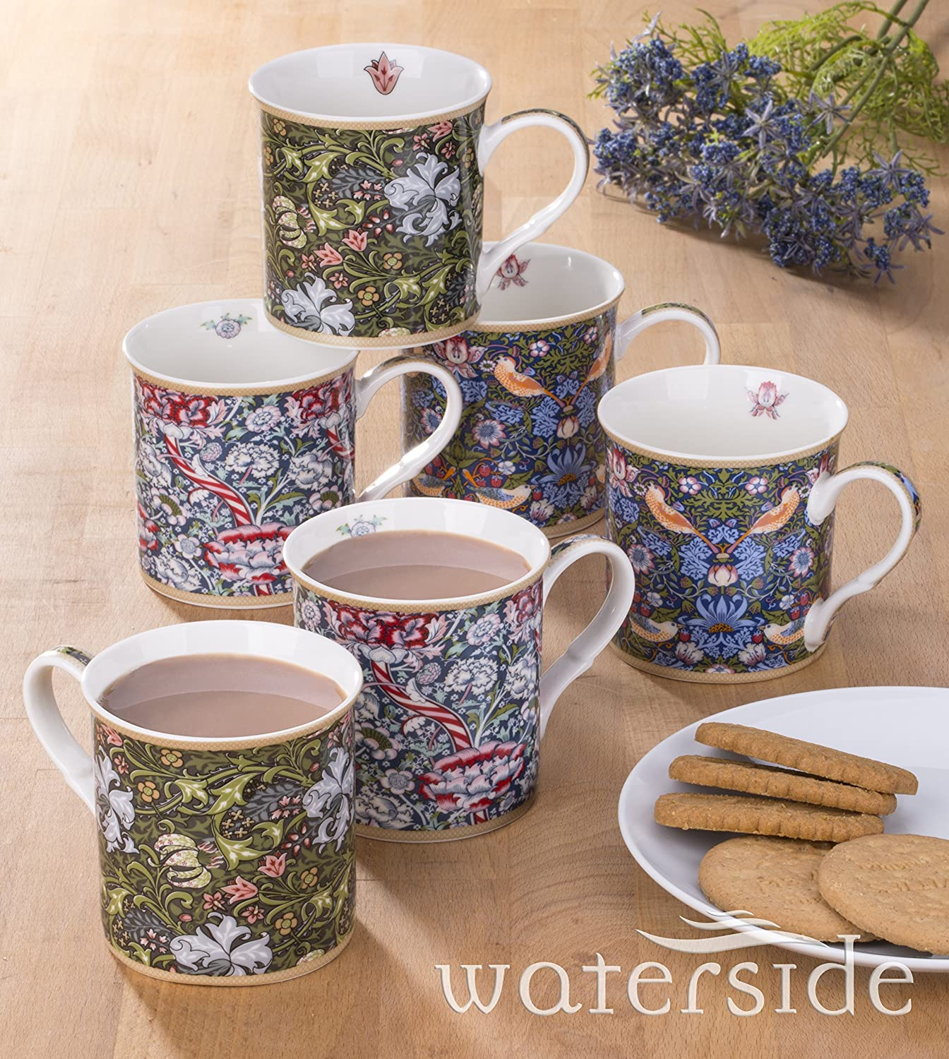 6 Piece William Morris Fine China Mug Set Waterside Fine China
