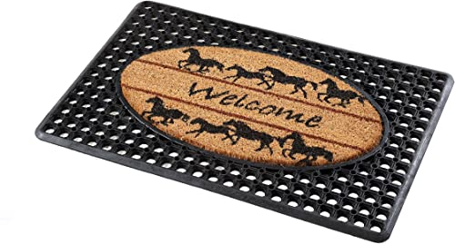 FLEXGARD IM20X30RING-WH Coco Rubber Entrance Mat with Horses