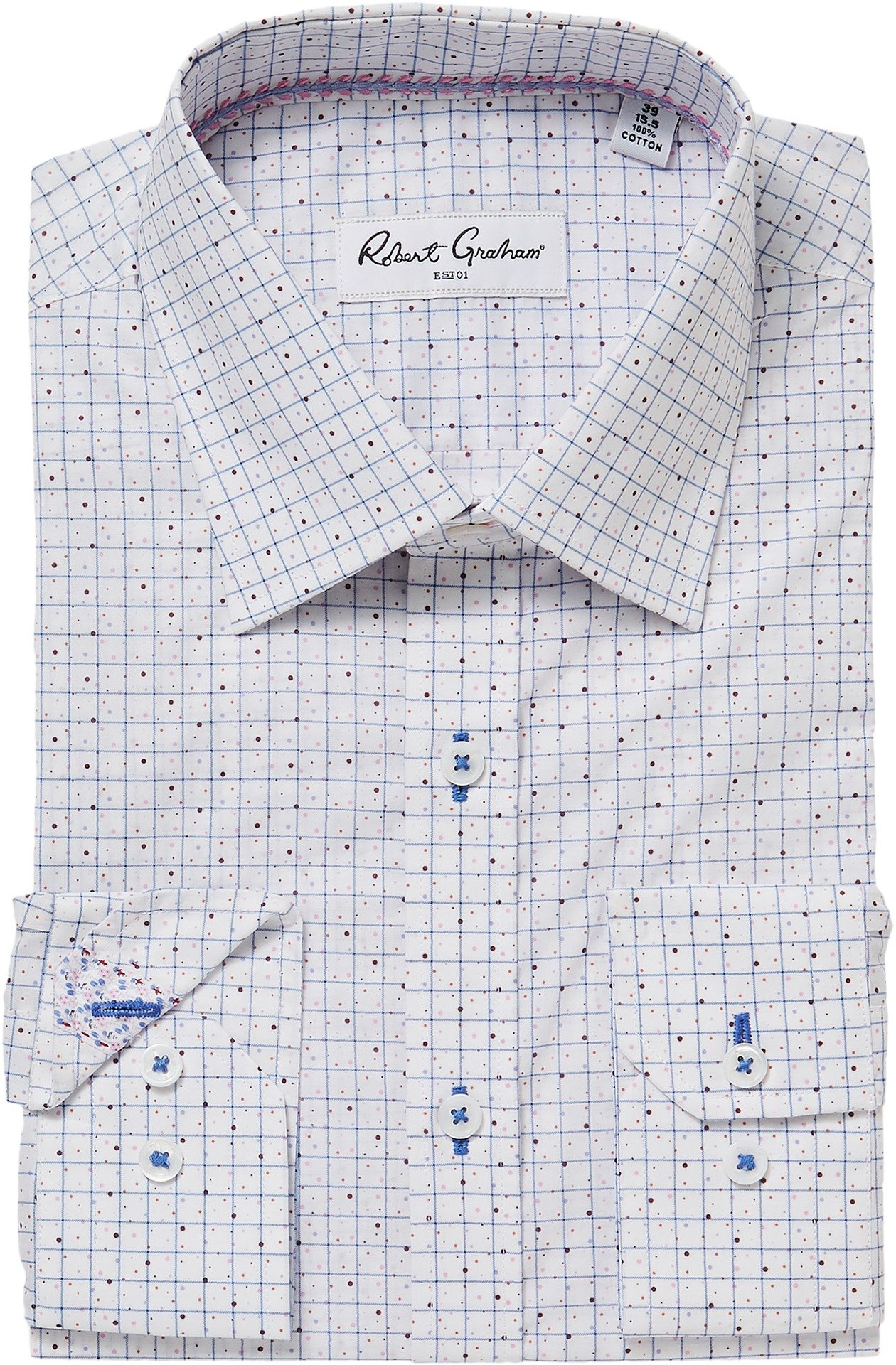 Robert Graham Men's Werp Dress Shirt White 17.5