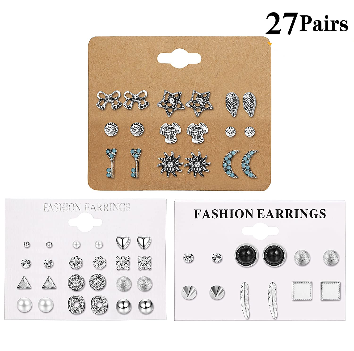 LOLIAS 27 Assorted Multiple Studs Earring Set for Women Girls Bohemia Retro Vintage Style Earrings Card pack L-EAH-EDTZ
