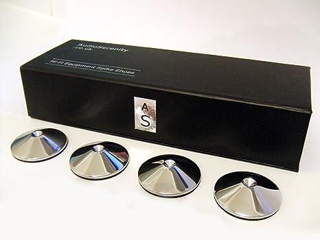 Juego de 4 tacos protectores de AudioSerenity para altavoces y muebles, de aluminio, de 7 mm y 30 mm de diámetro