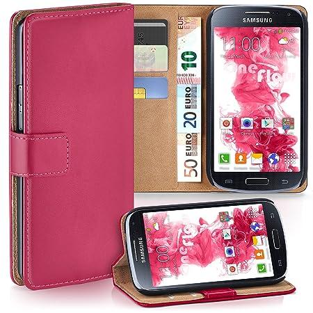 moex Samsung Galaxy S4 Mini | Hülle Pink mit Karten-Fach 360° Book Klapp-Hülle Handytasche Kunst-Leder Handyhülle für Samsung
