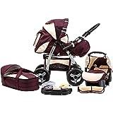 Kombi Kinderwagen Travel System Funbaby Speed Buggy Sportwagen Babyschale Autositz 0-10kg (bordaux beige)