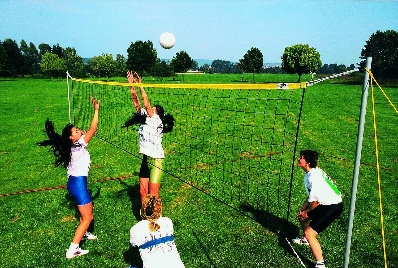 Beach-Volleyball - Volleyball Freizeit-Set für Kleinspielfeld (Spielfeldgröße 5,18 x 13,40 m) in neonpink Huck 5100