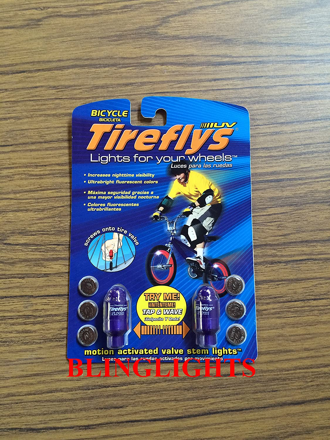 Amazon.com: Blue LED Tireflys Motion Activated Bicycle Valve Wheel Bike Stem Lights Batteries Included: Automotive