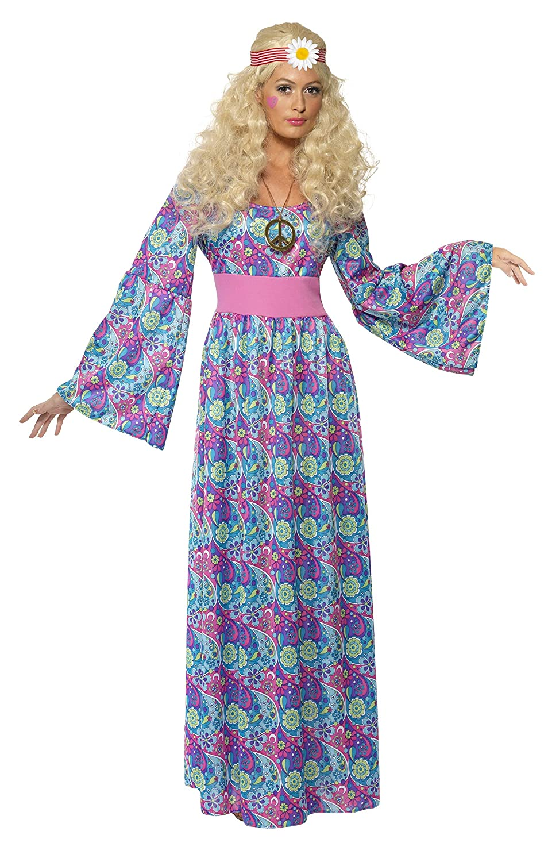 Smiffys Blaumenkind Damenkostüm Maxikleid mit Größengürtel und Glockenärmeln, Medium B004MNPHX6 Kostüme für Erwachsene Praktisch und wirtschaftlich | Authentisch