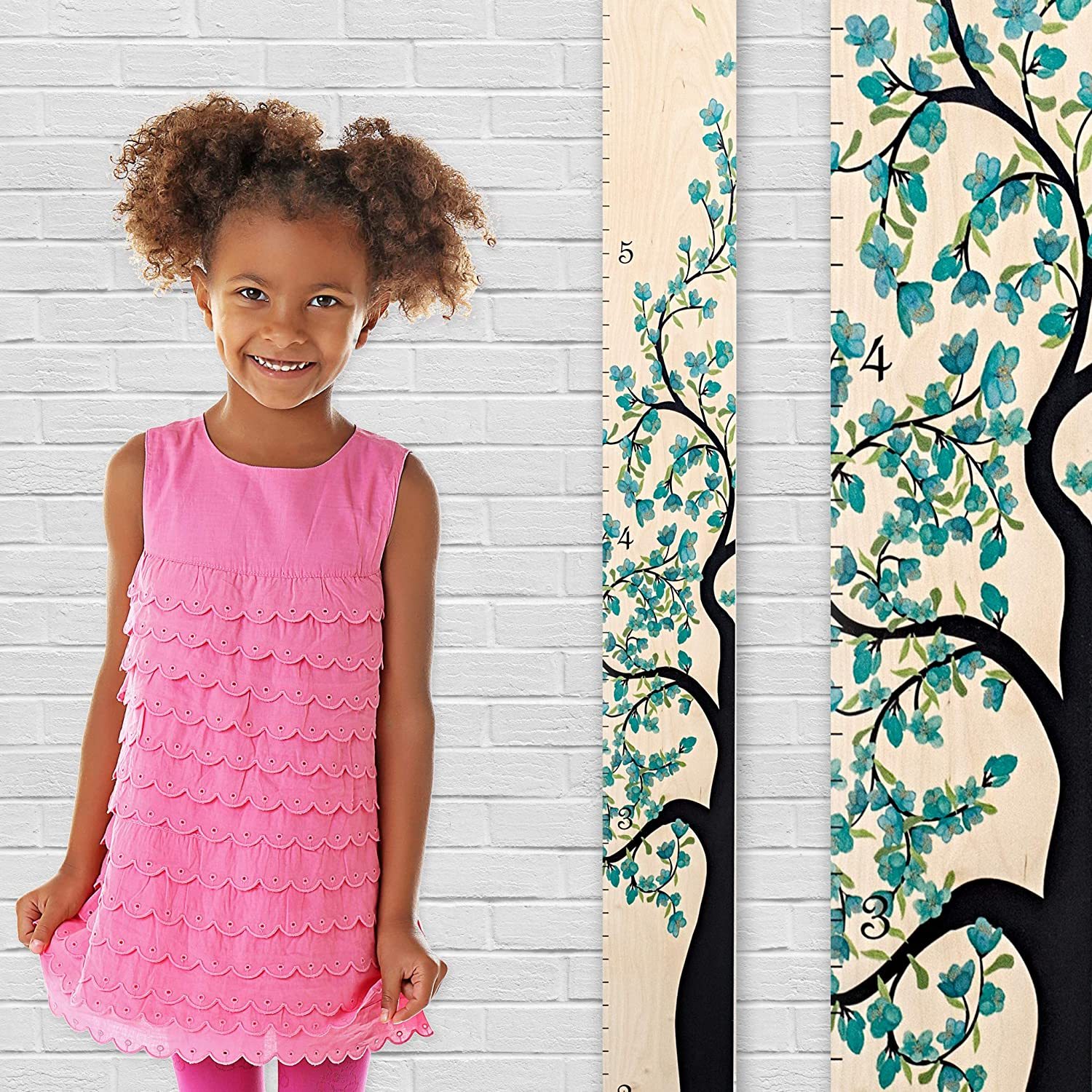 Growth Chart Art | Wooden Growth Chart Girls | Measuring Kids Height Wall Décor | Flower Growth Chart Ruler | Tree of Life Purple R-TOLFBP