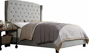 Rosevera Button-tufted Upholstered Panel Wingback Platform Bed, Full, Grey