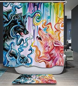 Izielad Bunte Wolf Malerei Stoff Duschvorhang Wasserdicht Bad Dekor