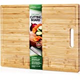 Extra Large Organic Bamboo Cutting Board for Kitchen, Includes 3 Built-in Compartments with Juice Grooves on Front and Back, Best as a Butcher Block or Chopping Board for Meat Bread Cheese Vegtables