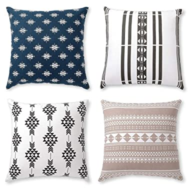 Boho Throw Pillow Covers or Decorative Cushion Covers for Couch, Sofa, Bedroom Bohemian Set of 4 18X18 Modern Geometric Pillow Case for Home Decor or Farmhouse, 100% Cotton, Horizon Blue