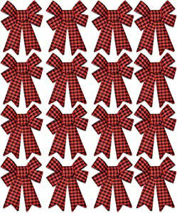 "16 Christmas Buffalo Plaid Red Bows 5.5"" by 8"" Burlap Plastic Black Checkered Small Wreath Ribbon Bow for Holiday Kitchen Indoor Outdoor Decoration Xmas Tree Garland Decor Gift Wrap Craft Supplies"