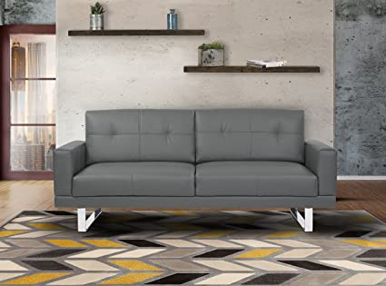 Armen Living LCLISOGRAY Lincoln Sofa In Grey Faux Leather And Chrome Finish