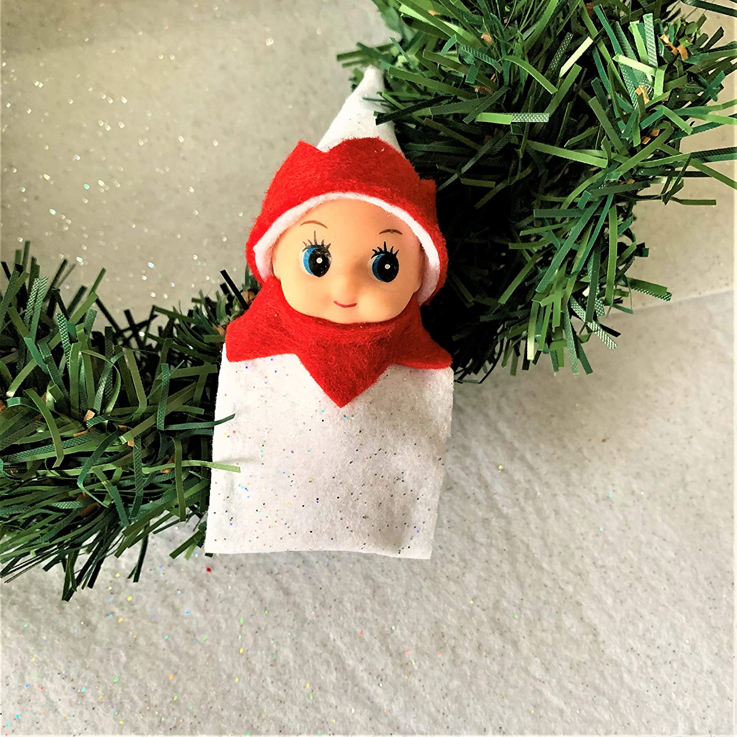 Baby Elf Doll in White and Red Toddler Elf Doll Christmas Elf in Training