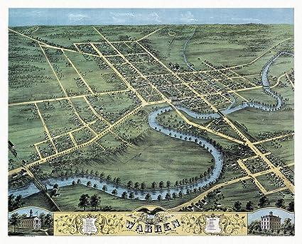 Amazon Com Historic Map Of Warren Ohio 1870 Trumbull County 18x24