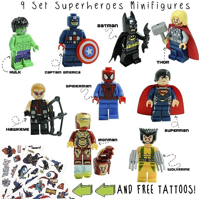 1a6e1389 Kids Corner Productions - Super Heroes Figures 9 Set Mini Figures Kids  Corner Productions - Party Bag with Batman, Spiderman, IronMan, Thor,  DeadPool, ...