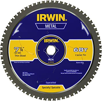 Irwin 7 1 4 Inch Metal Cutting Circular Saw Blade 68 Tooth 4935560 Metal Working Tools Amazon Com