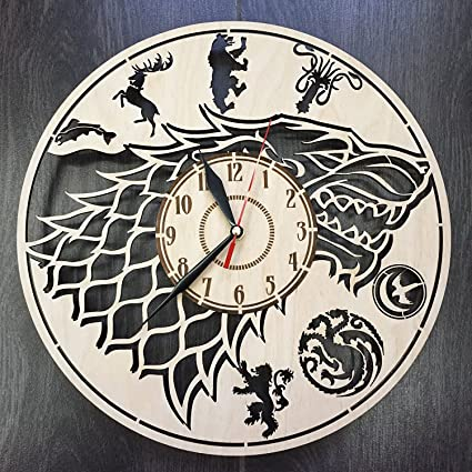 Game Of Thrones Stark Wall Clock Made Of WOOD   Perfect And Beautifully Cut    Decorate