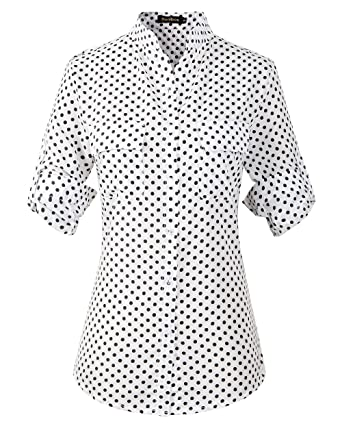 6fd62480eee Benibos Women s Polka Dot Chiffon Elegant Casual Shirt Blouse at Amazon  Women s Clothing store