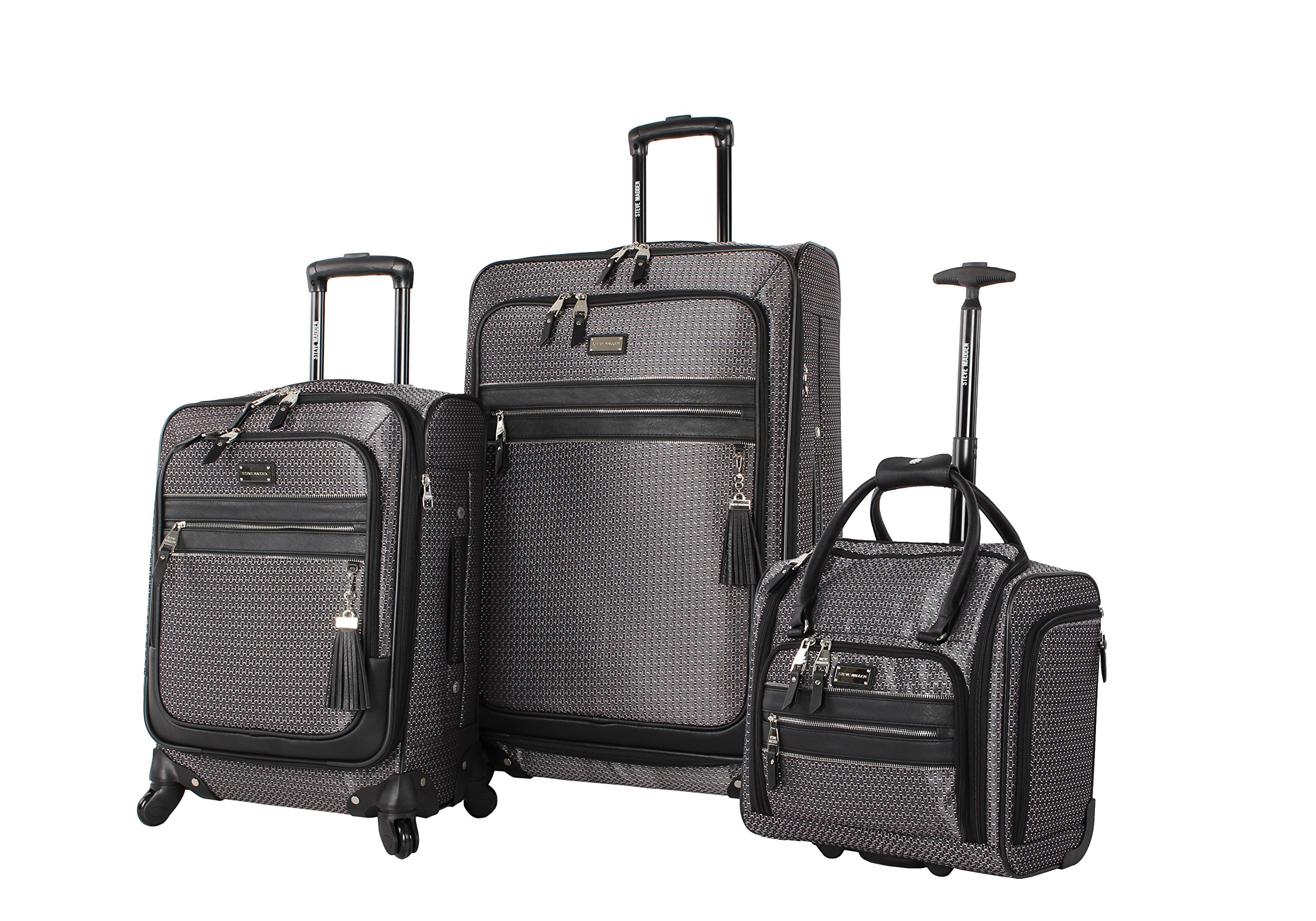 Steve Madden Luggage 3 Piece Softside Spinner Suitcase Set Collection (Luscious Silver)