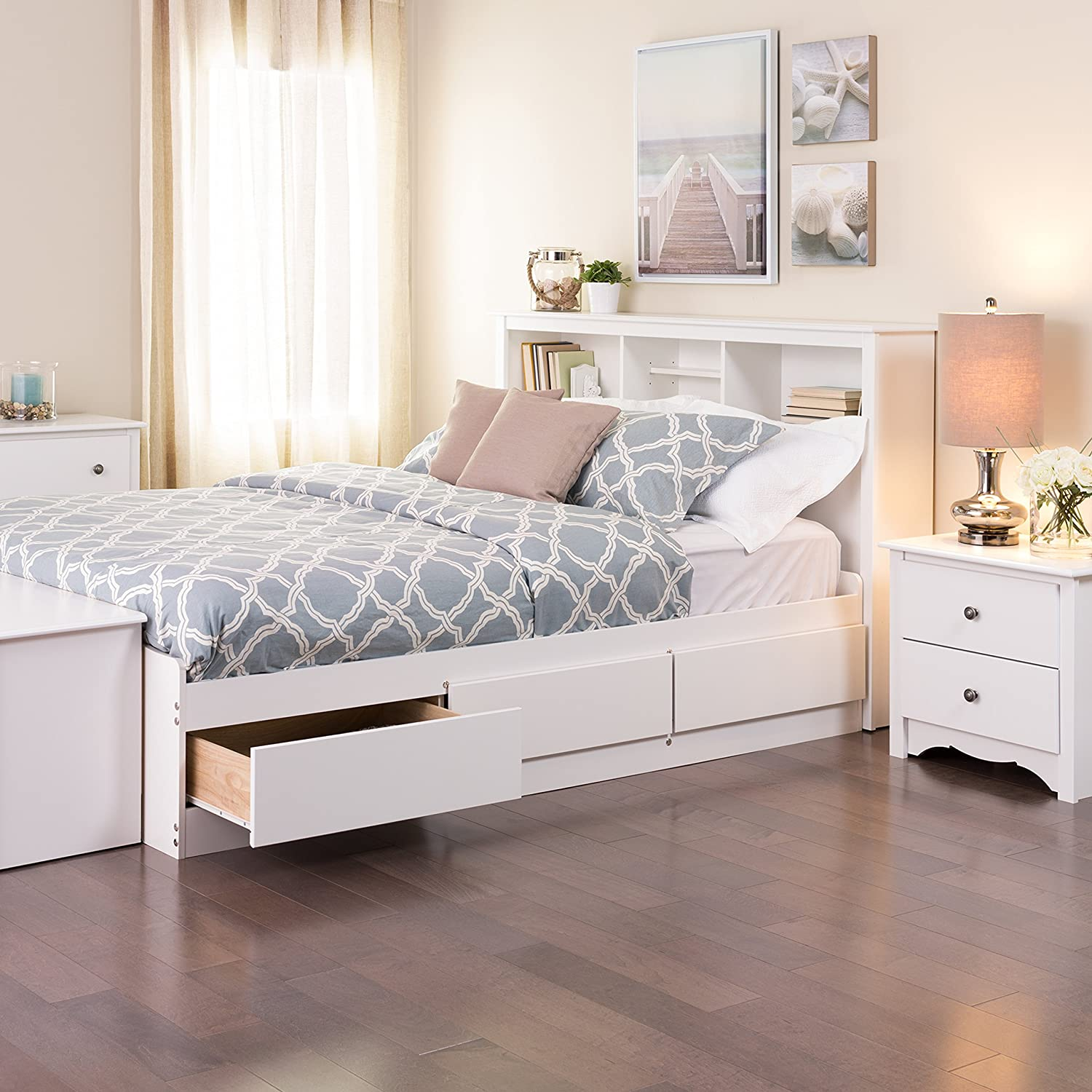 amazoncom prepac full mates platform storage bed with 6 drawers white kitchen dining - White Full Bed Frame