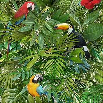 Tropical Jungle Papier Peint Perroquets Oiseaux Feuilles Vert