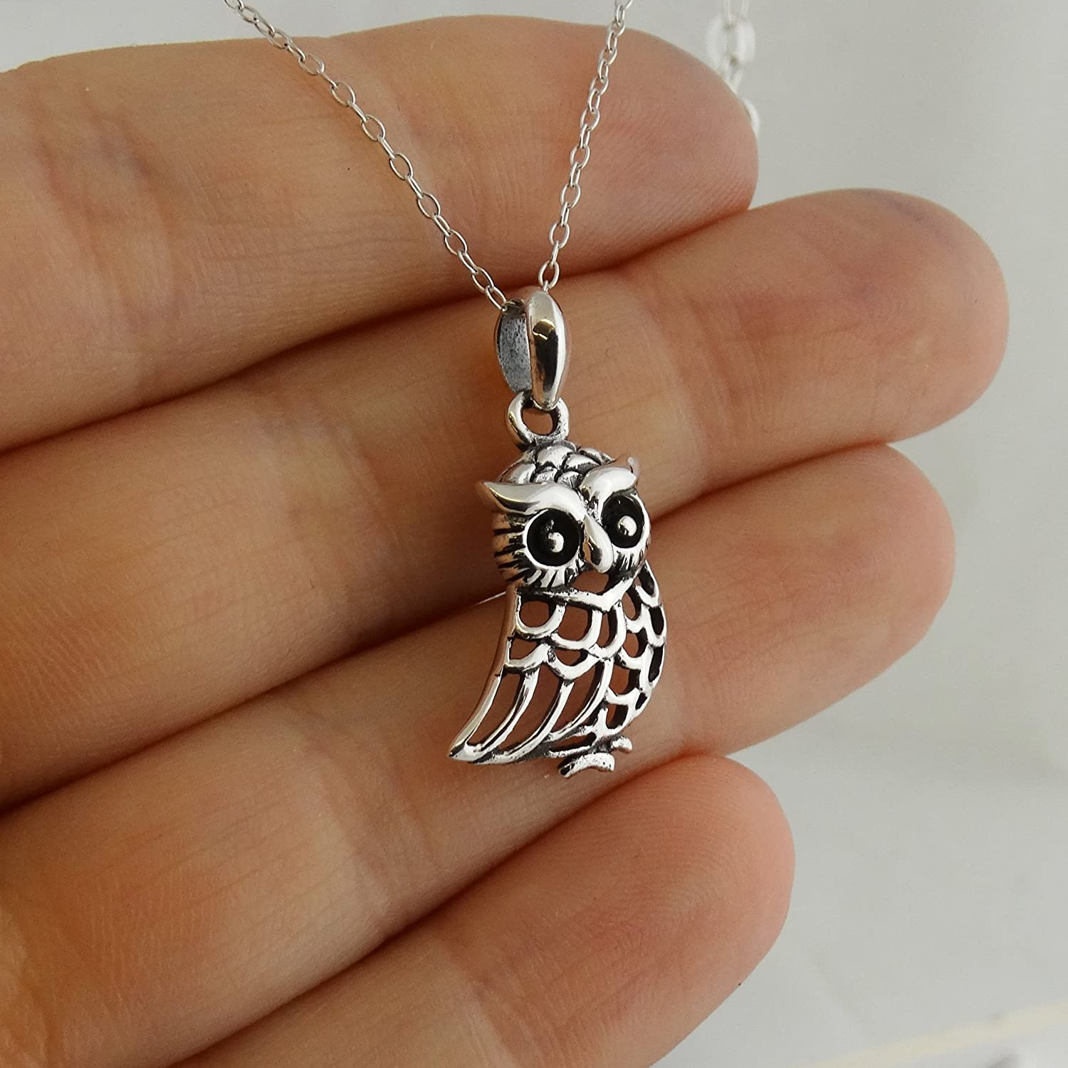FashionJunkie4Life Sterling Silver Perched Owl Pendant Necklace 18 Chain