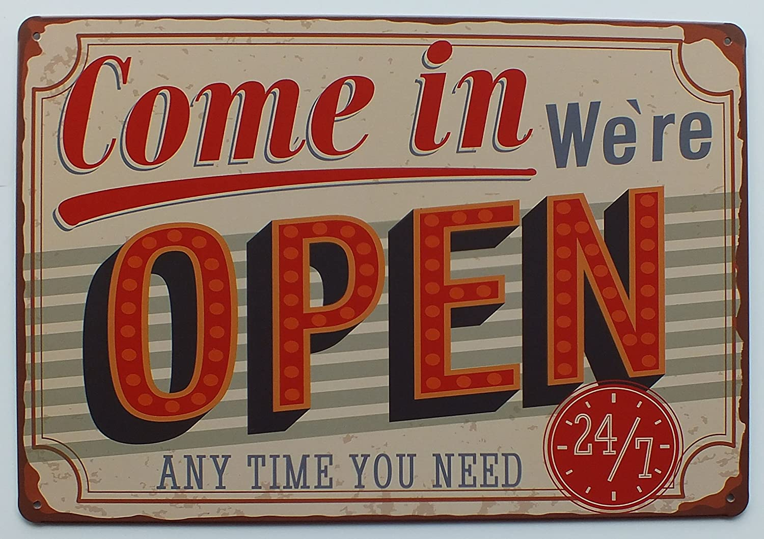 """TIN SIGN /""""Come In We/'re Open/""""Deco  Garage Wall Decor"""