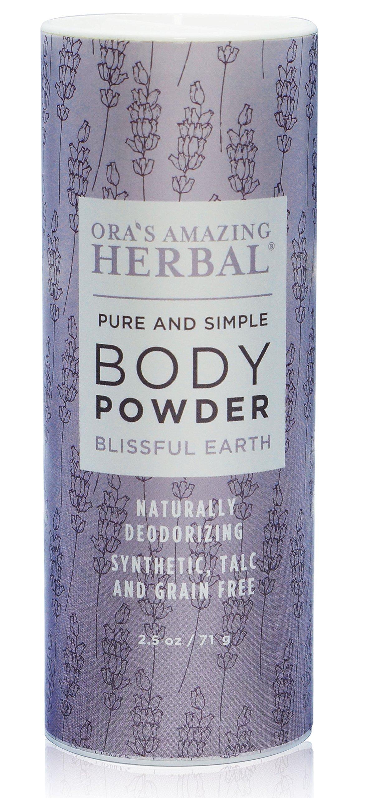 Natural Body Powder, Dusting Powder, No Talc, Corn, Grain or Gluten, non GMO, Ora's Amazing Herbal (Blissful Earth scent)