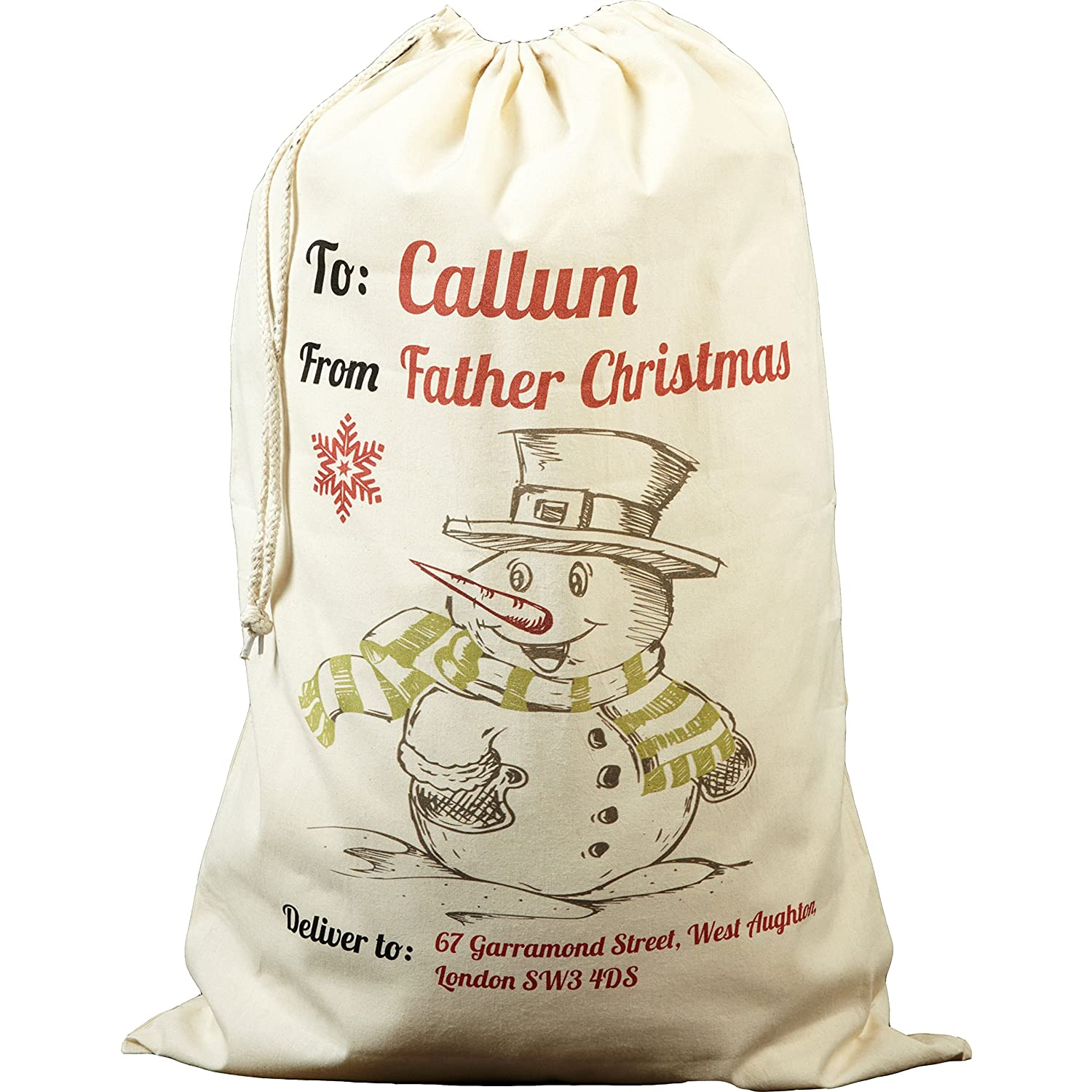 personalised father christmas sack large size amazon co uk