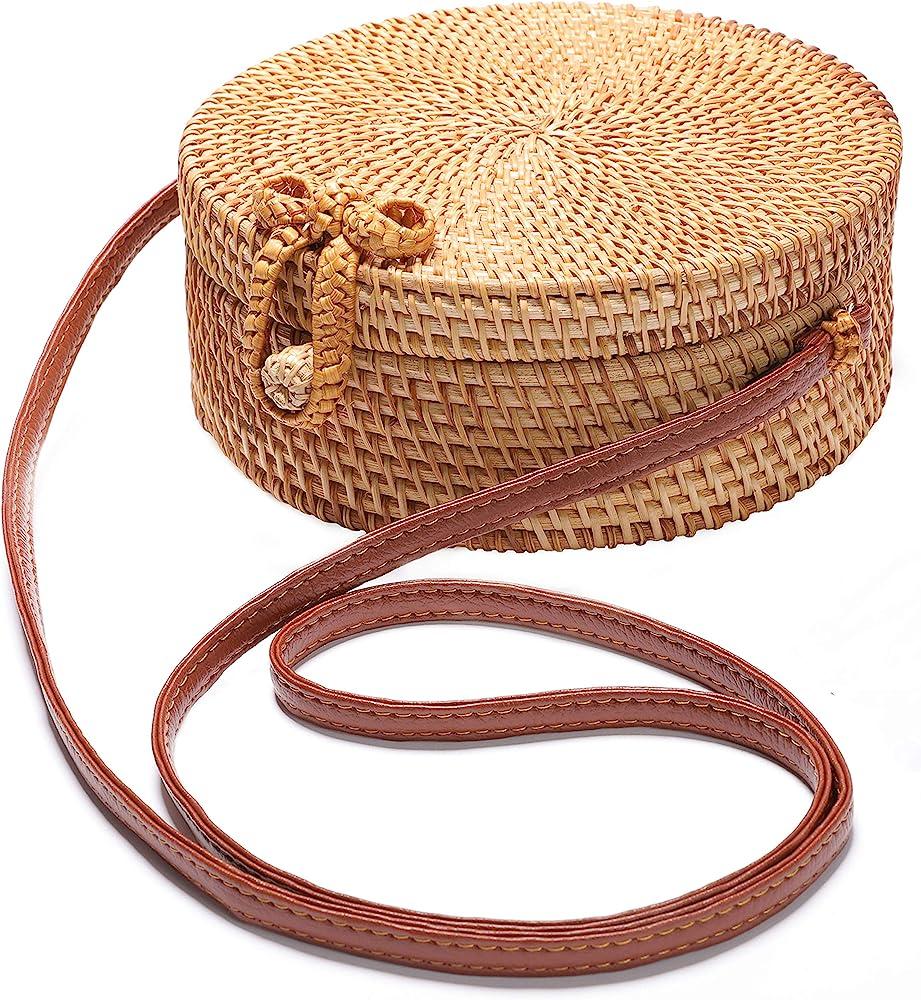 Leewa Round Rattan Bags Handmade Wicker Woven Handbags Straw Satchel Double