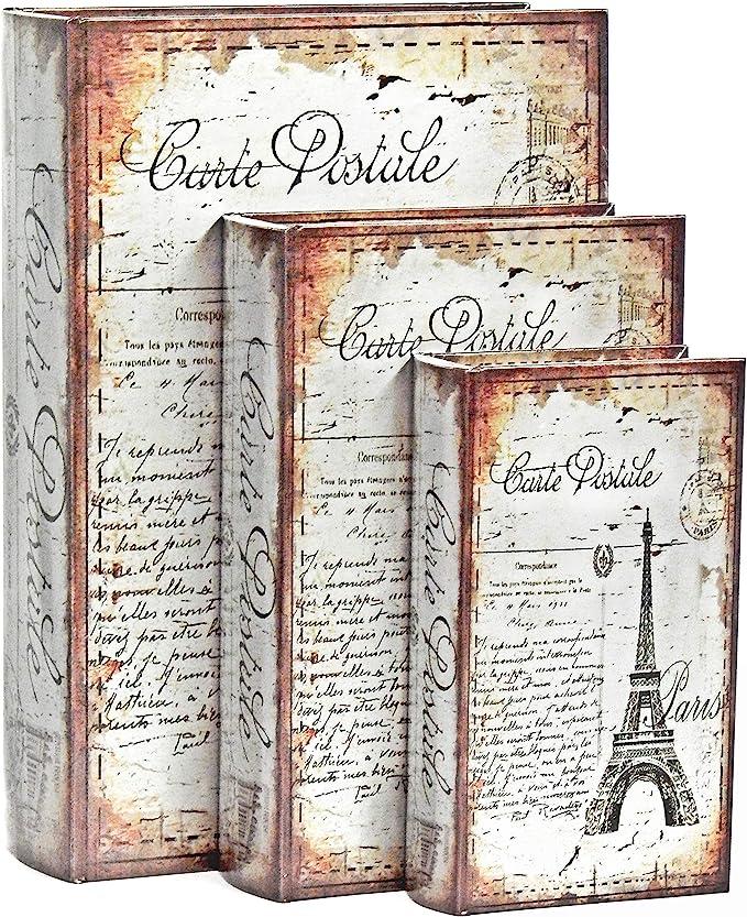 Bellaa 28069 - Caja decorativa para libros (3 unidades, diseño de Torre Eiffel de París, diseño secreto oculto: Amazon.es: Hogar