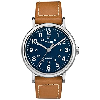 5732eb775 Amazon.com: Timex Men's TW2R42500 Weekender 40 Brown/Blue Leather ...