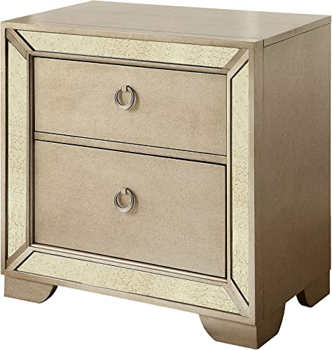 Furniture of America Hanson Modern Victorian Night Stand, One Size, Silver